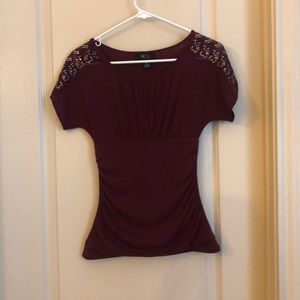 BCX Maroon Top with Sequins Sleeve XS